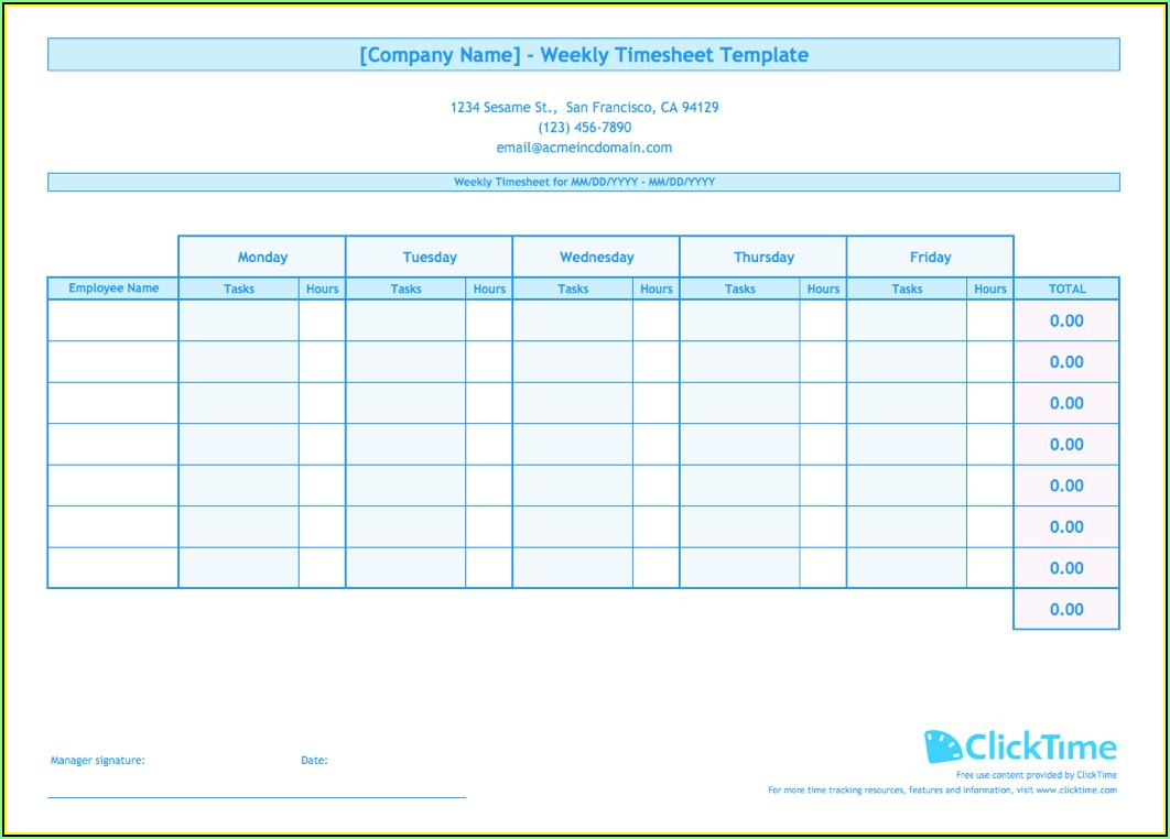 Timesheet Templates For Multiple Employees