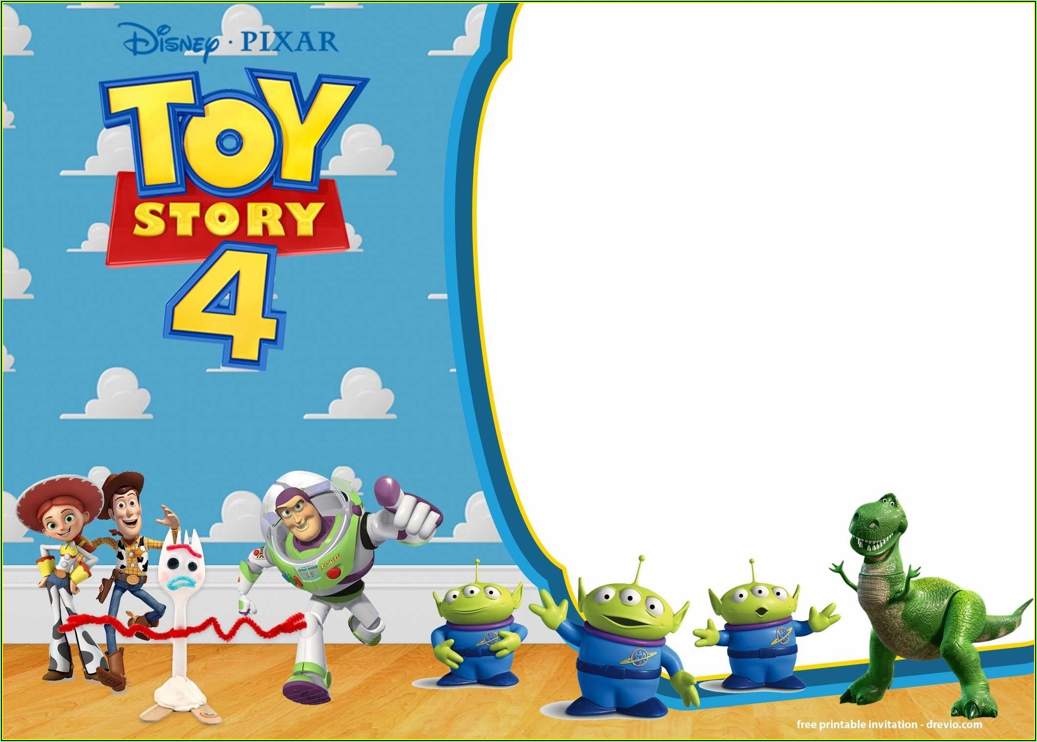 Toy Story 4 Invitation Template Free