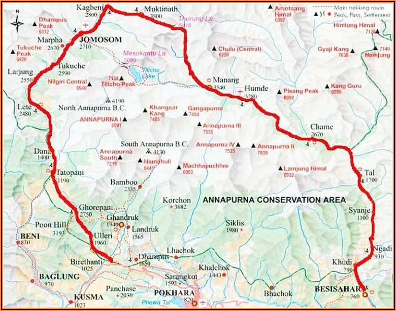 Trekking In Nepal Annapurna Circuit Map