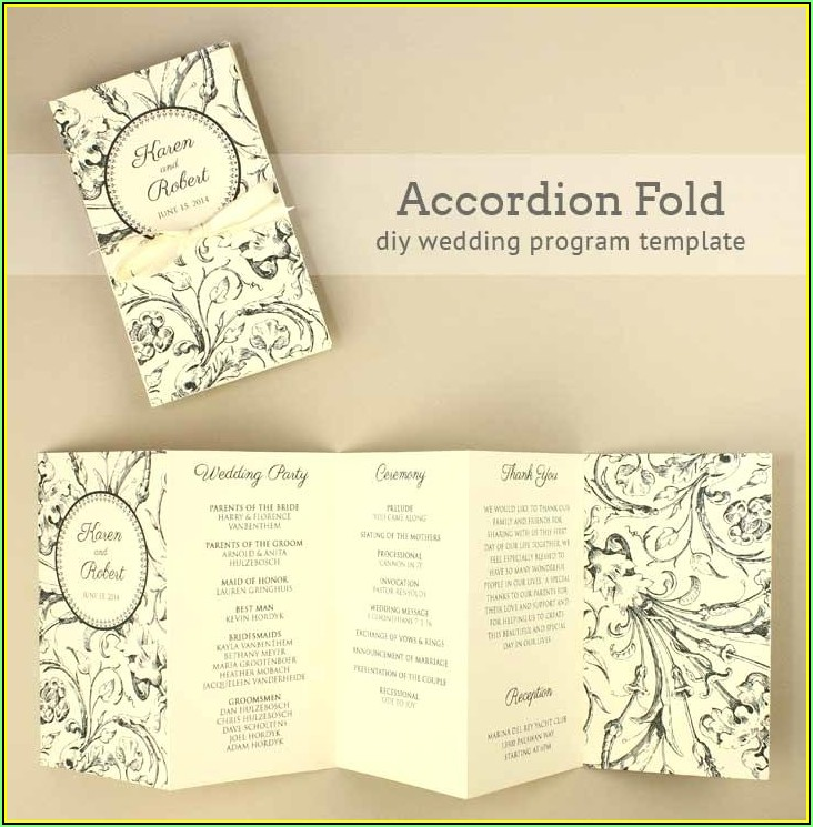 Tri Fold Wedding Program Template Publisher