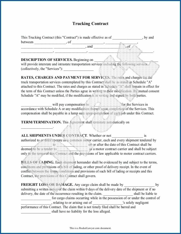 Trucking Contracts Templates