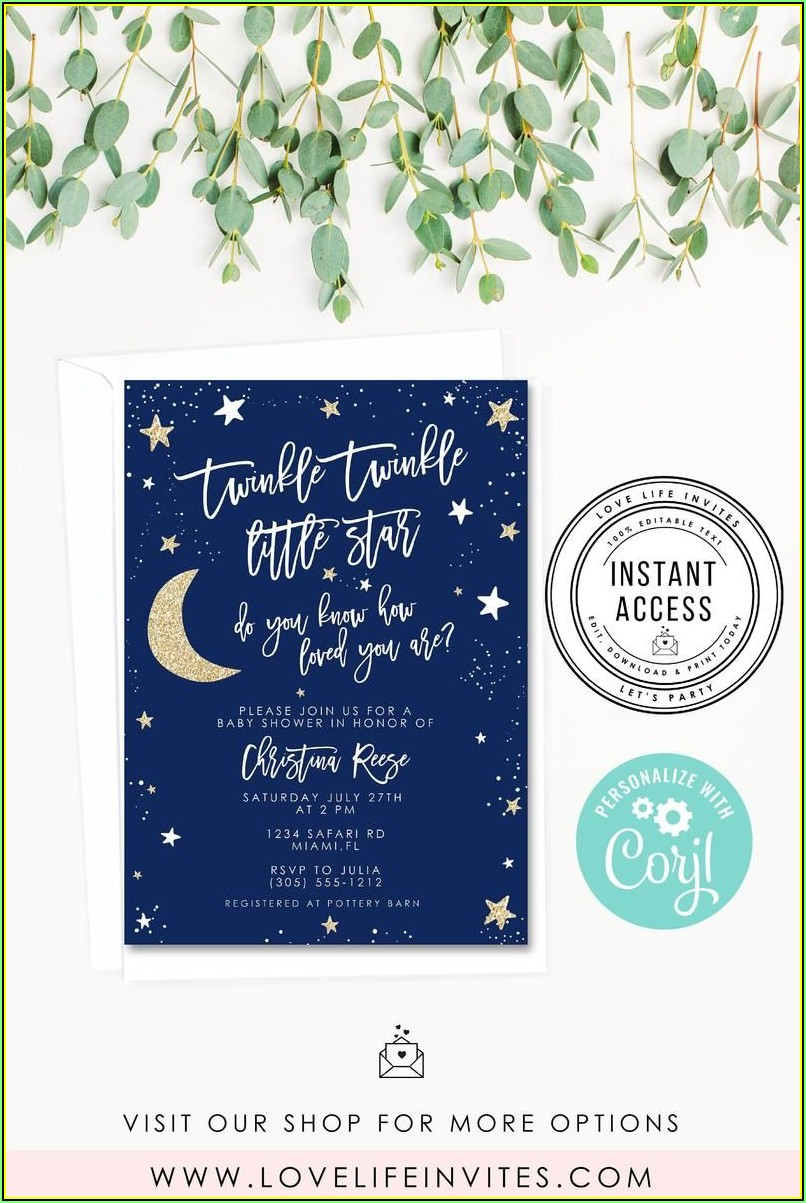 Twinkle Twinkle Little Star Baby Shower Invitation Template