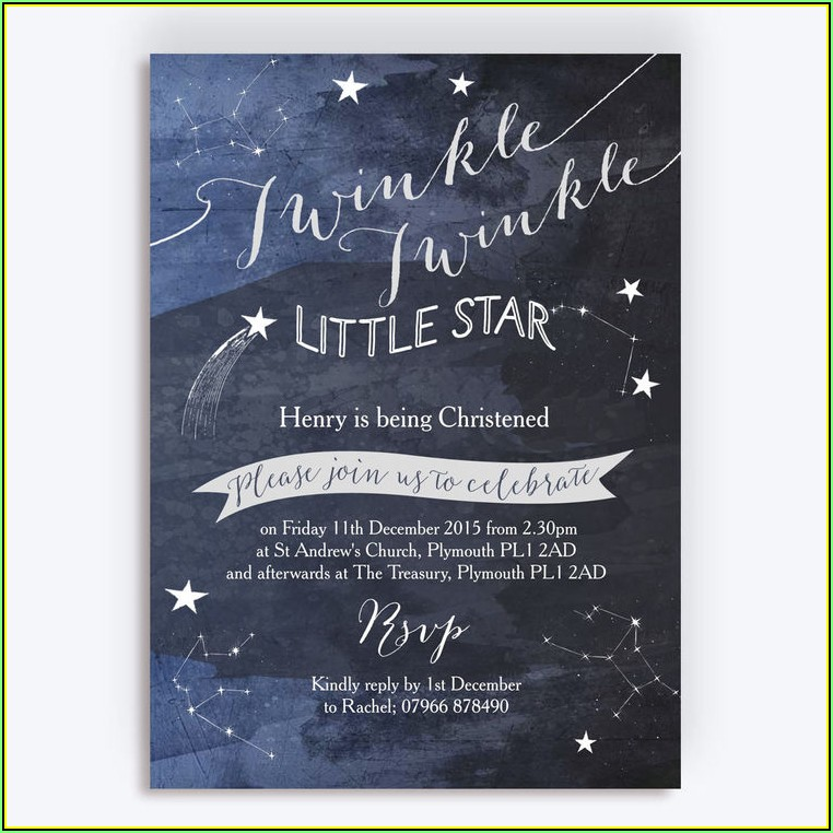Twinkle Twinkle Little Star Baptism Invitation Template