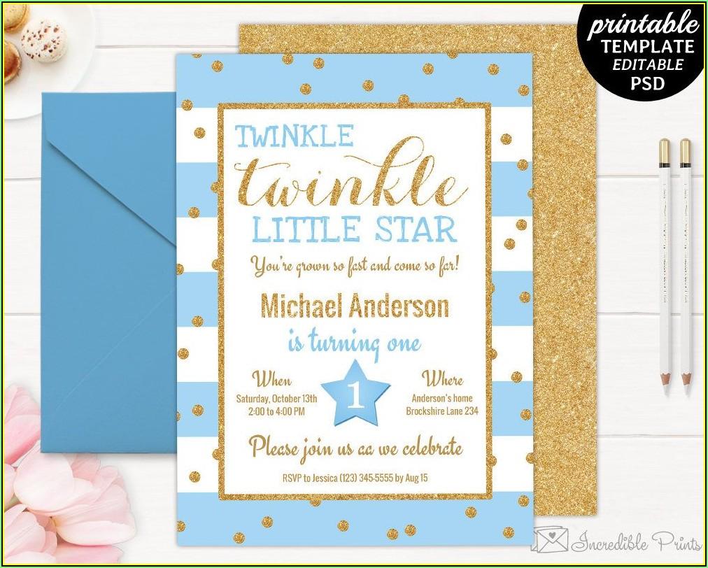 Twinkle Twinkle Little Star Birthday Invitation Template