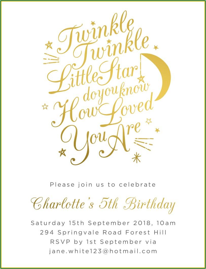 Twinkle Twinkle Little Star Birthday Invitation Wording