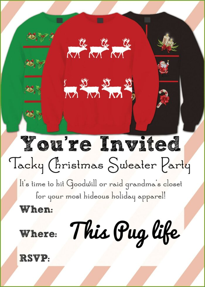 Ugly Christmas Sweater Invite Template Free