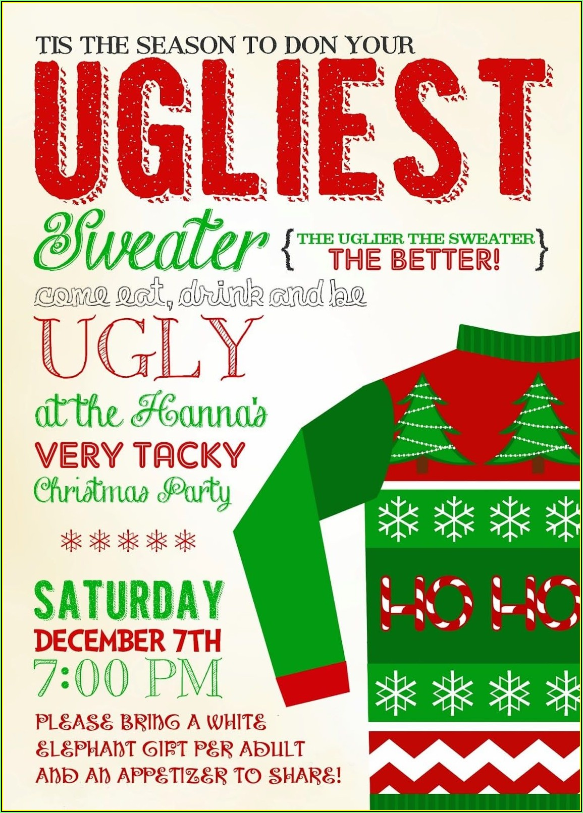 Ugly Sweater Contest Invitation Template