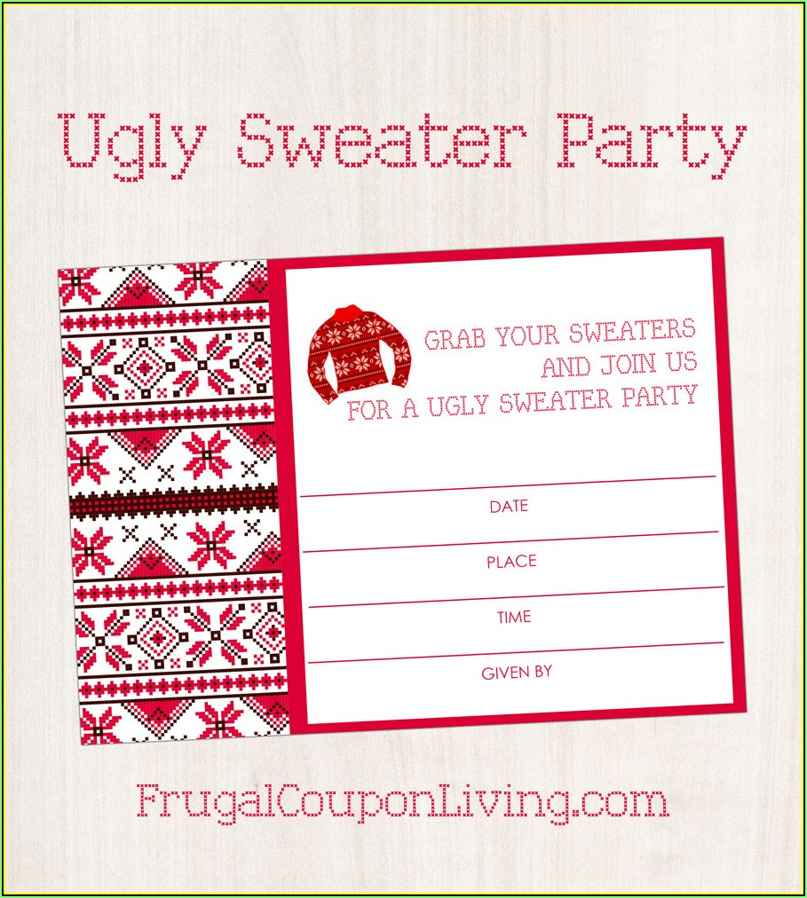 Ugly Sweater Party Invite Template Free