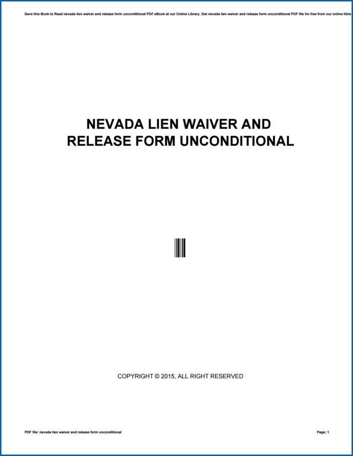 Unconditional Lien Waiver Form