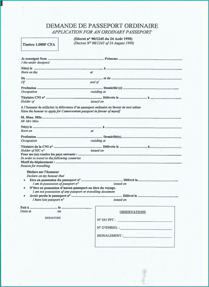 Us Passport Renewal Application Form 2019