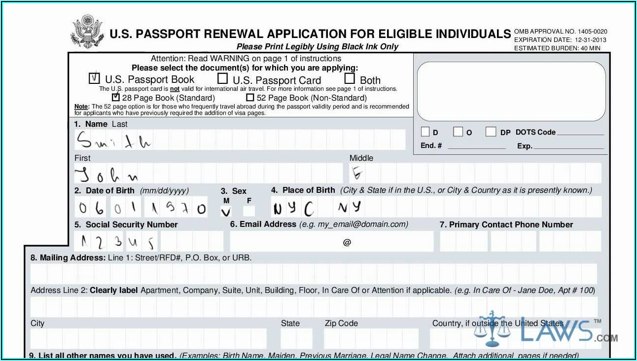 Us Passport Renewal Application Form Instructions
