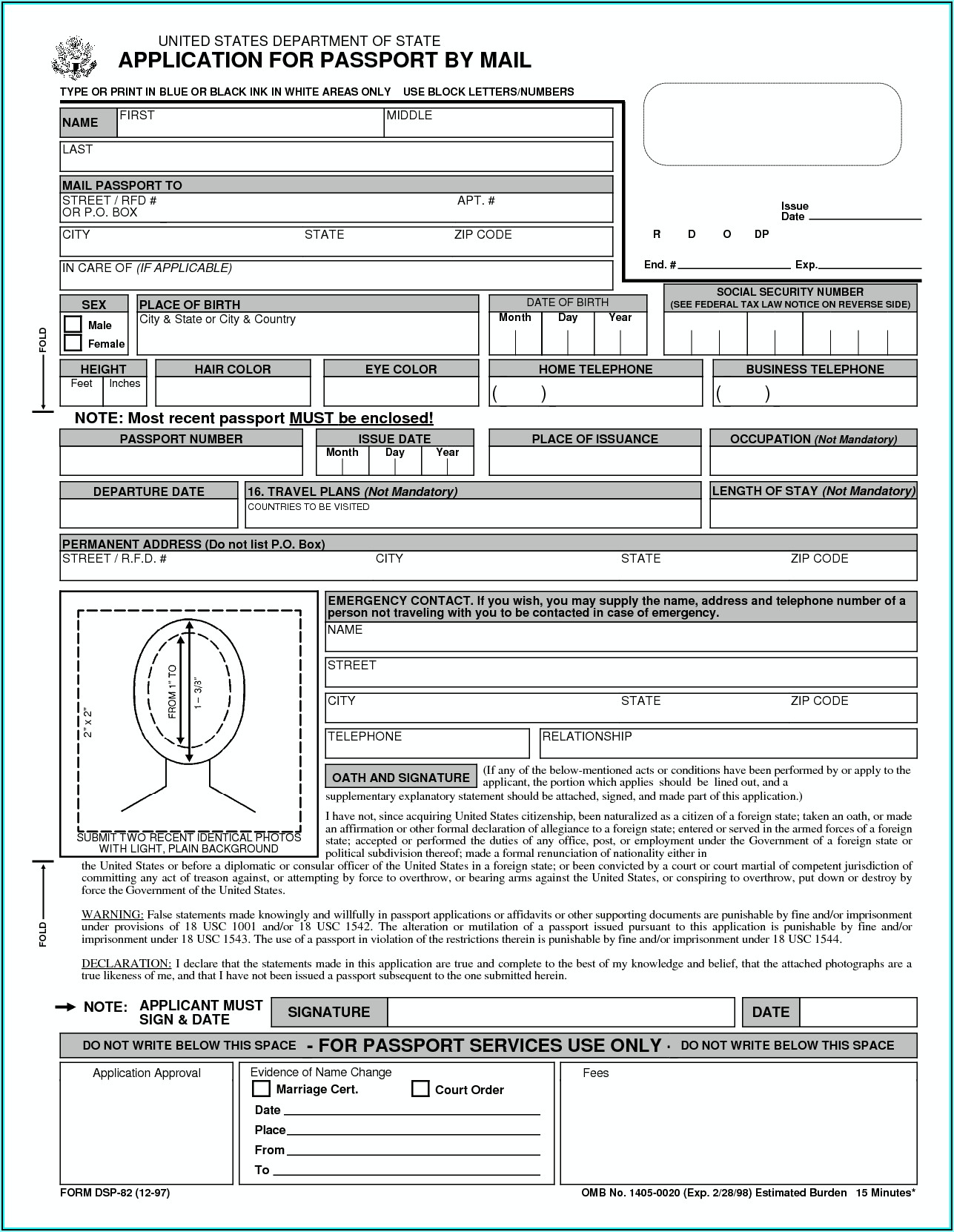 Us Passport Renewal Application Form Pdf Fillable