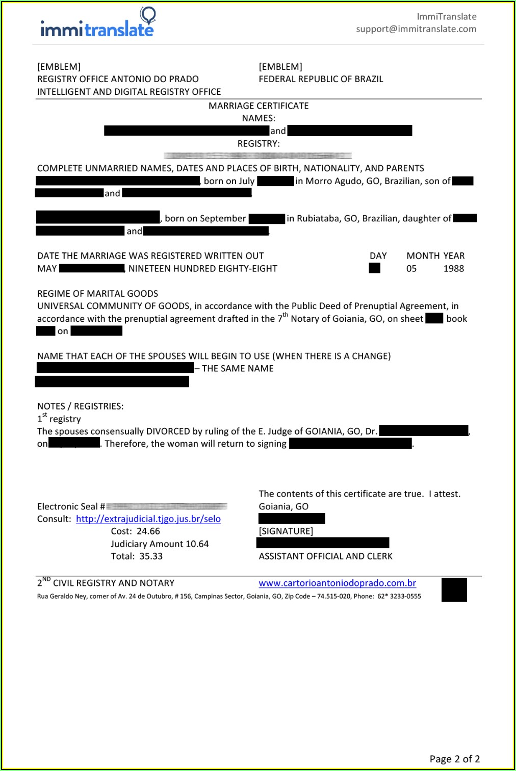 Uscis Marriage Certificate Translation Template