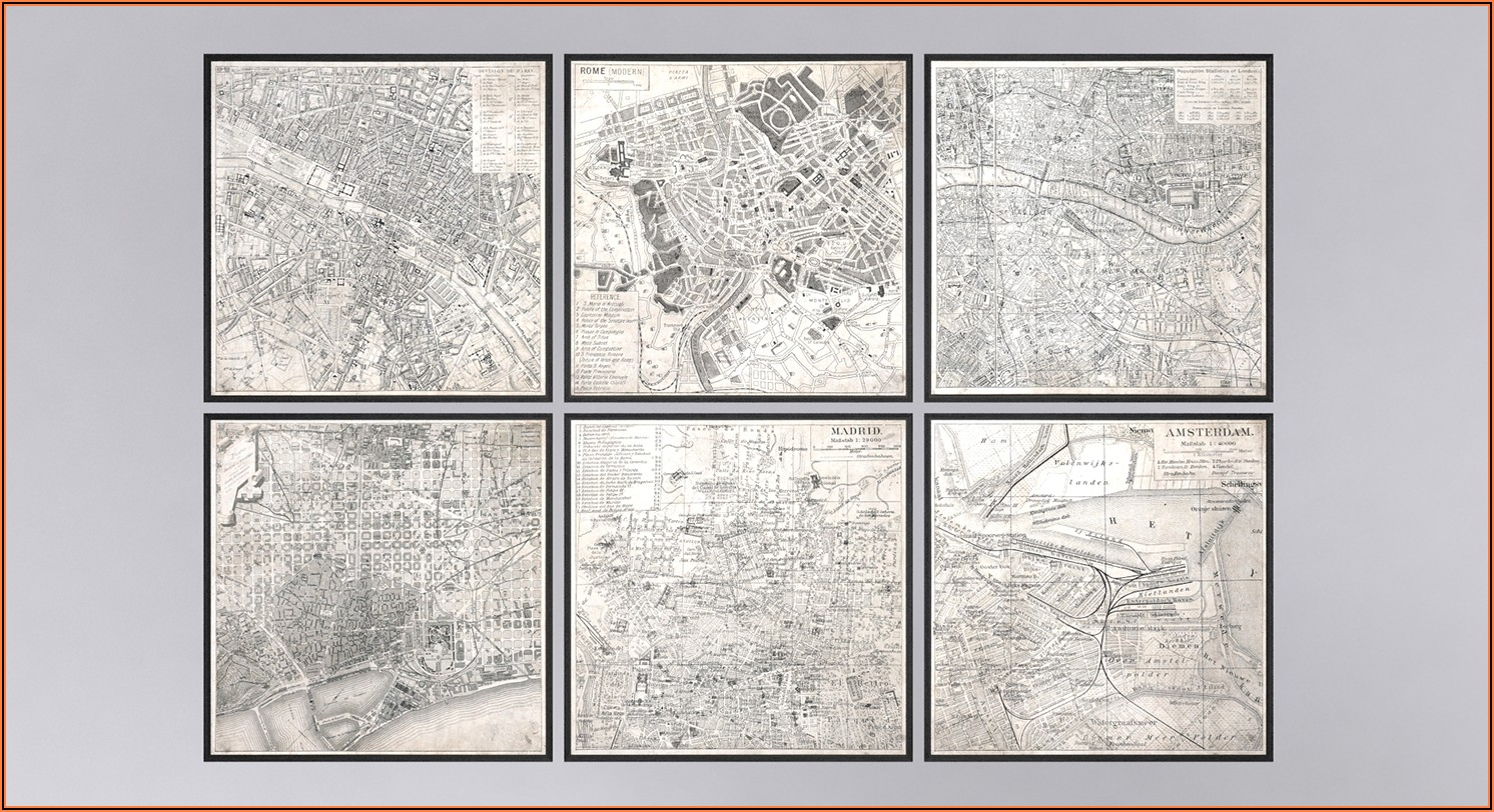 Vintage Aerial Maps Of European Cities