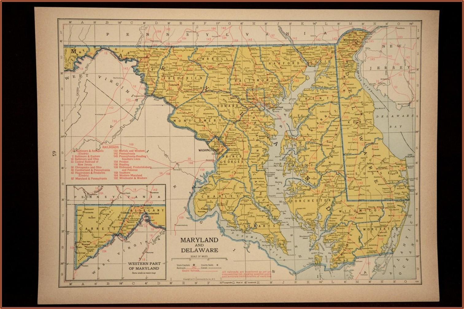 Vintage Maryland Map