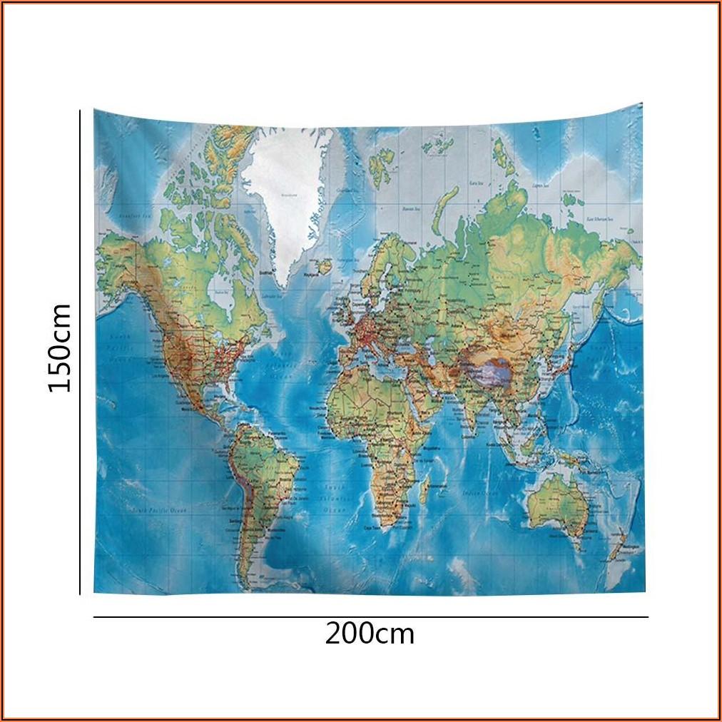 Wall Hanging World Map Mural