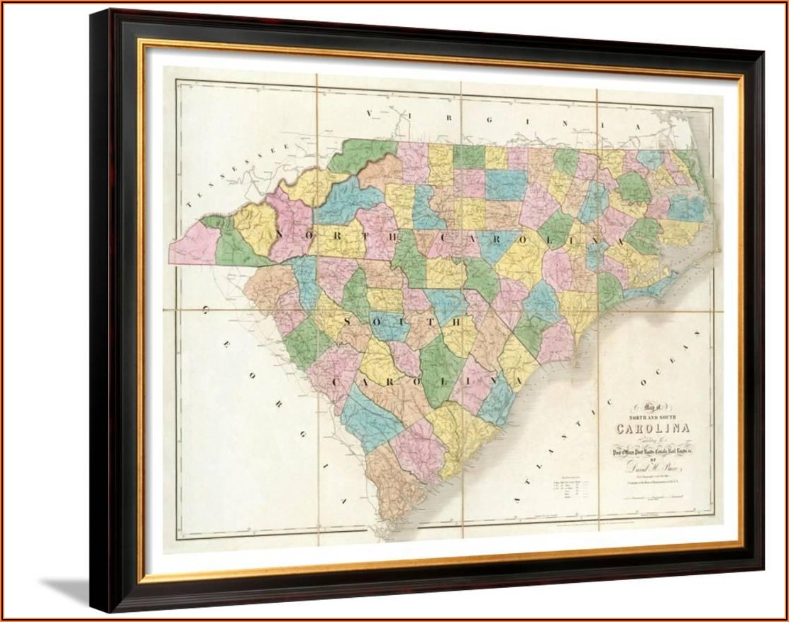 Wall Map Of North And South Carolina