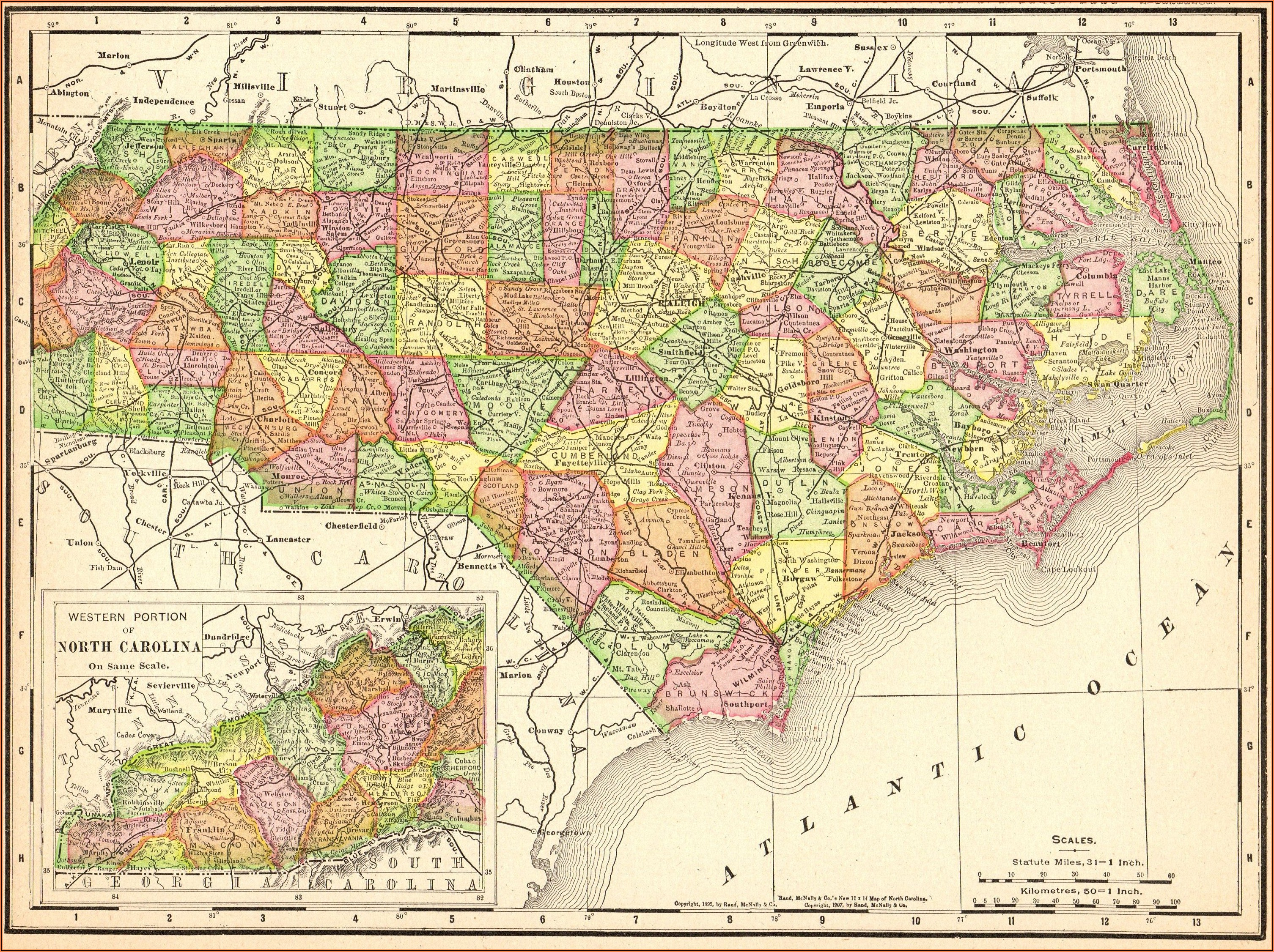 Wall Map Of North Carolina