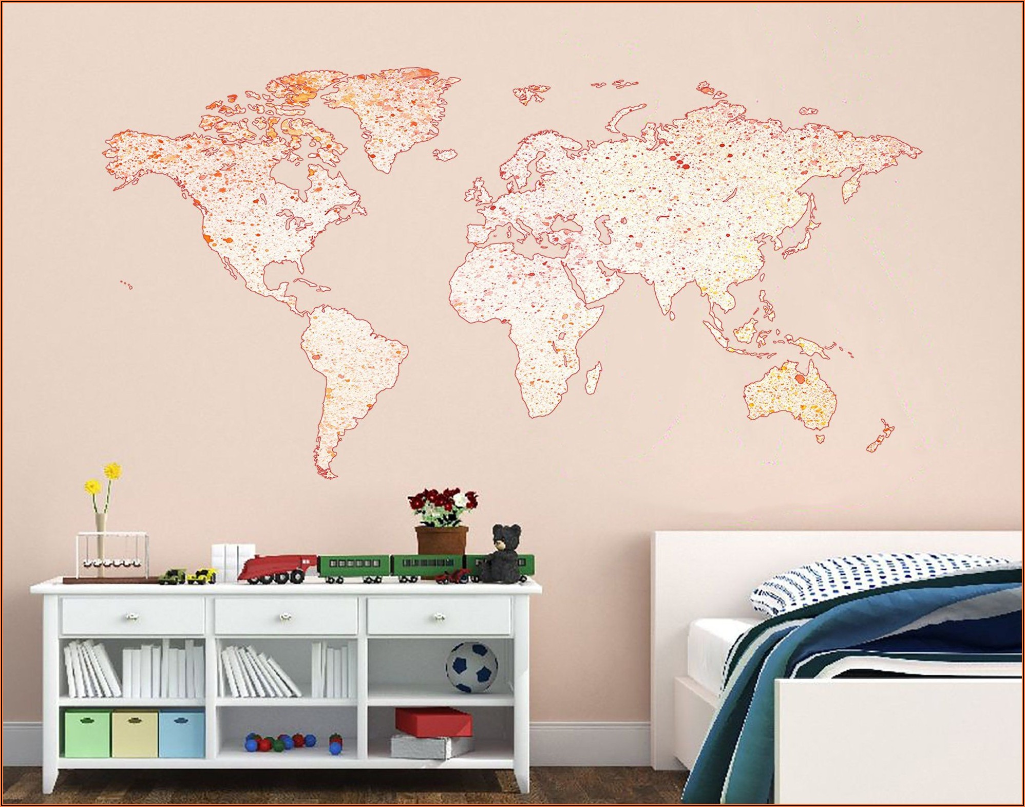 Wall World Map Watercolor Decal Sticker