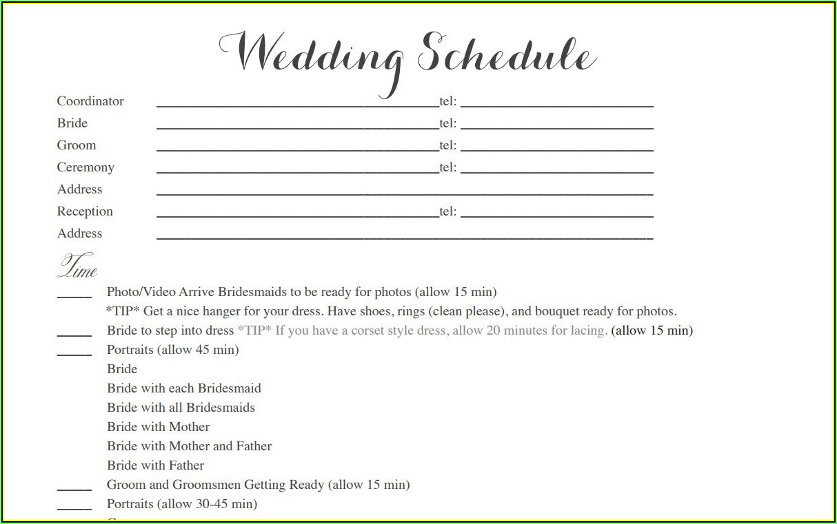 Wedding Day Itinerary Template Free