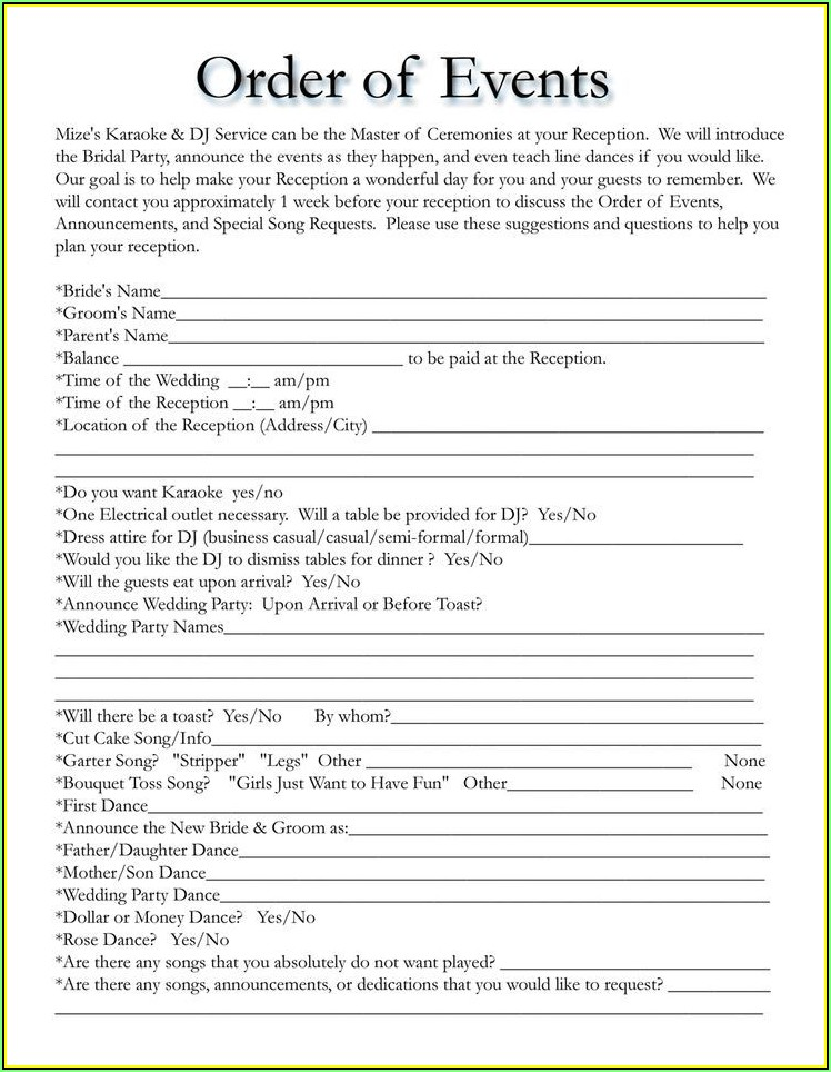Wedding Itinerary Template Free