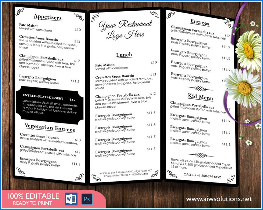 Wedding Menu Design Templates