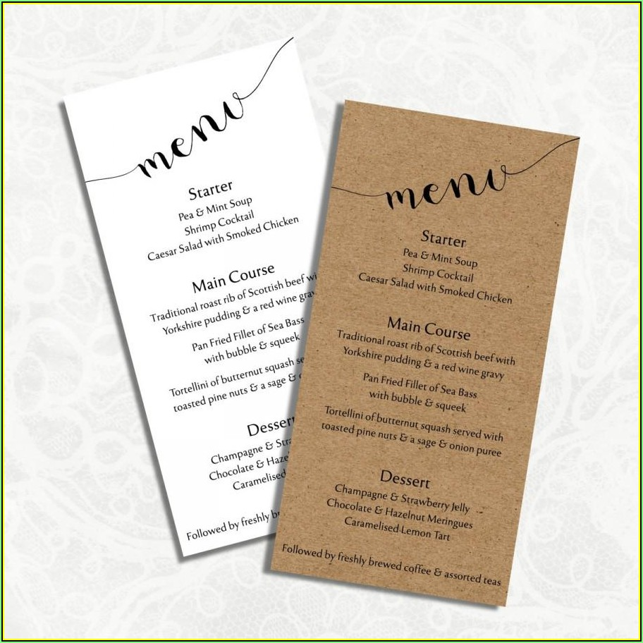 Wedding Menu Template Microsoft Word