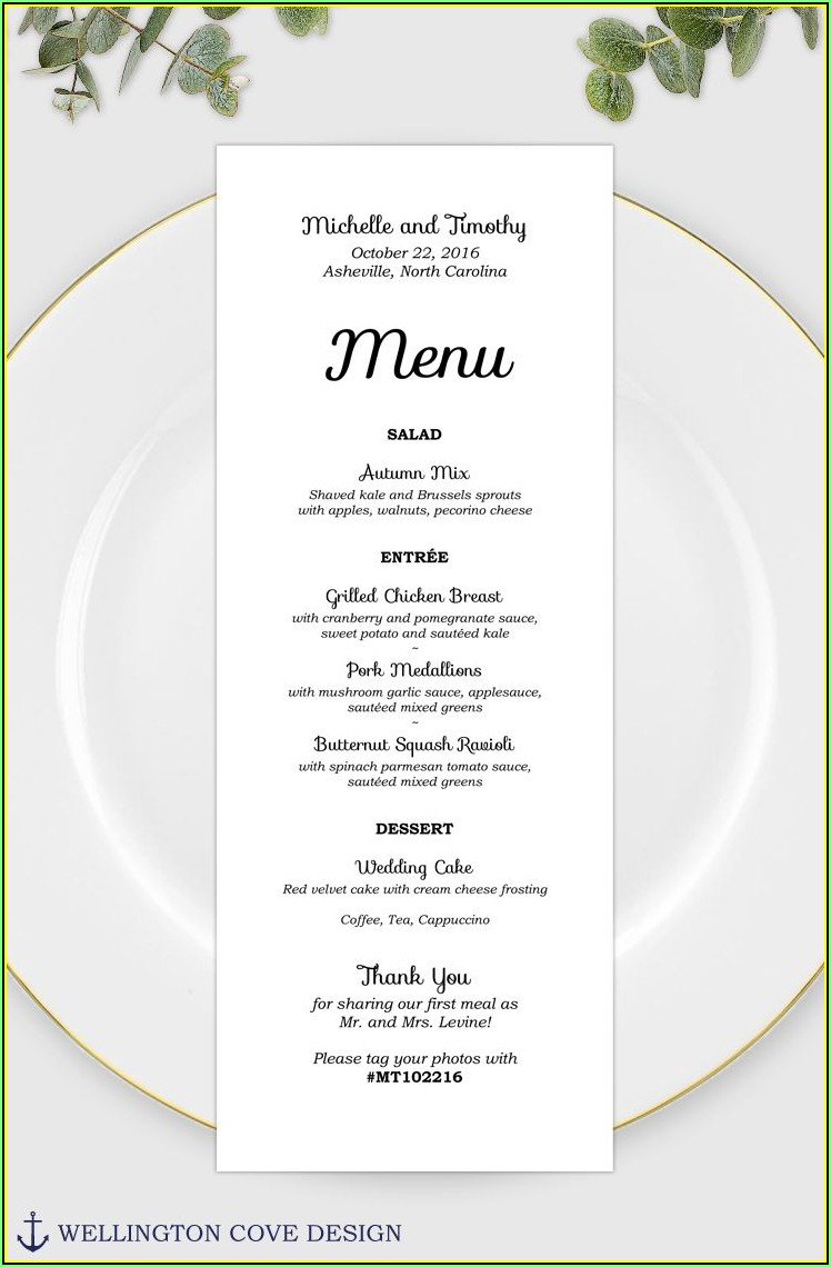 Wedding Menu Template Word