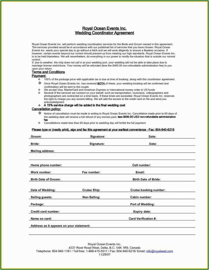Wedding Planner Agreement Template