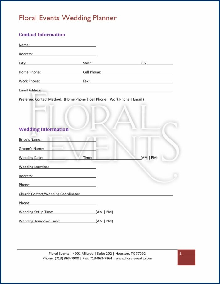 Wedding Planner Contract Template Pdf
