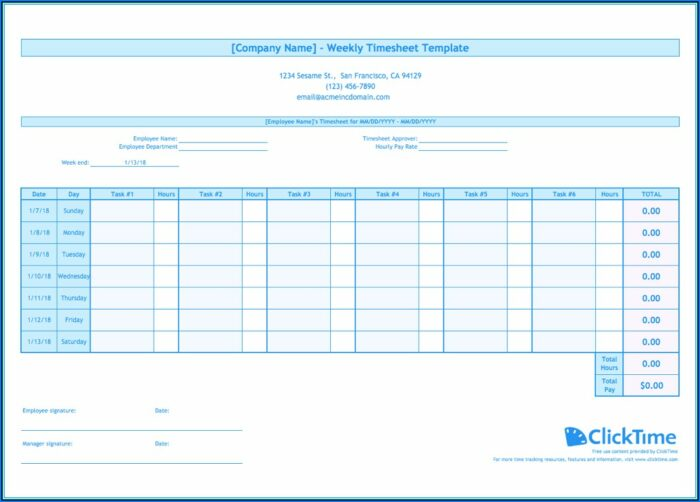 Weekly Timesheet Template Excel Free