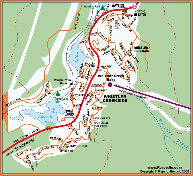 Whistler Creekside Accommodation Map