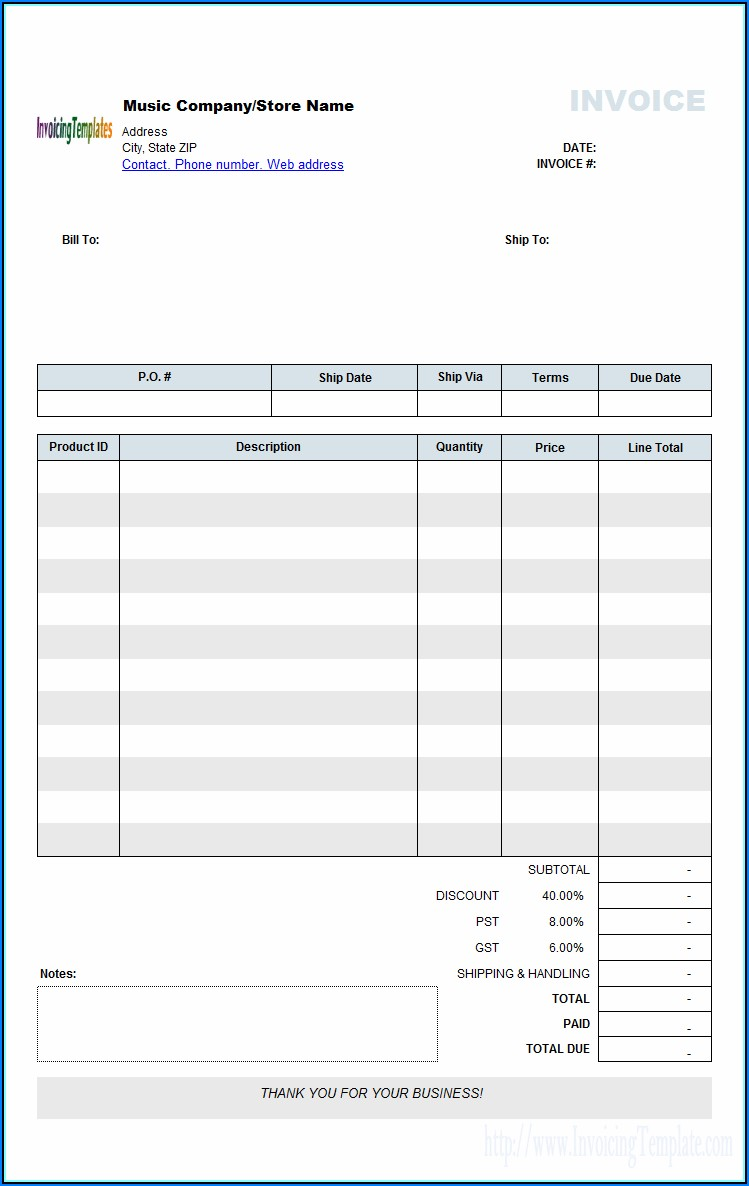 Wholesale Clothing Invoice Template