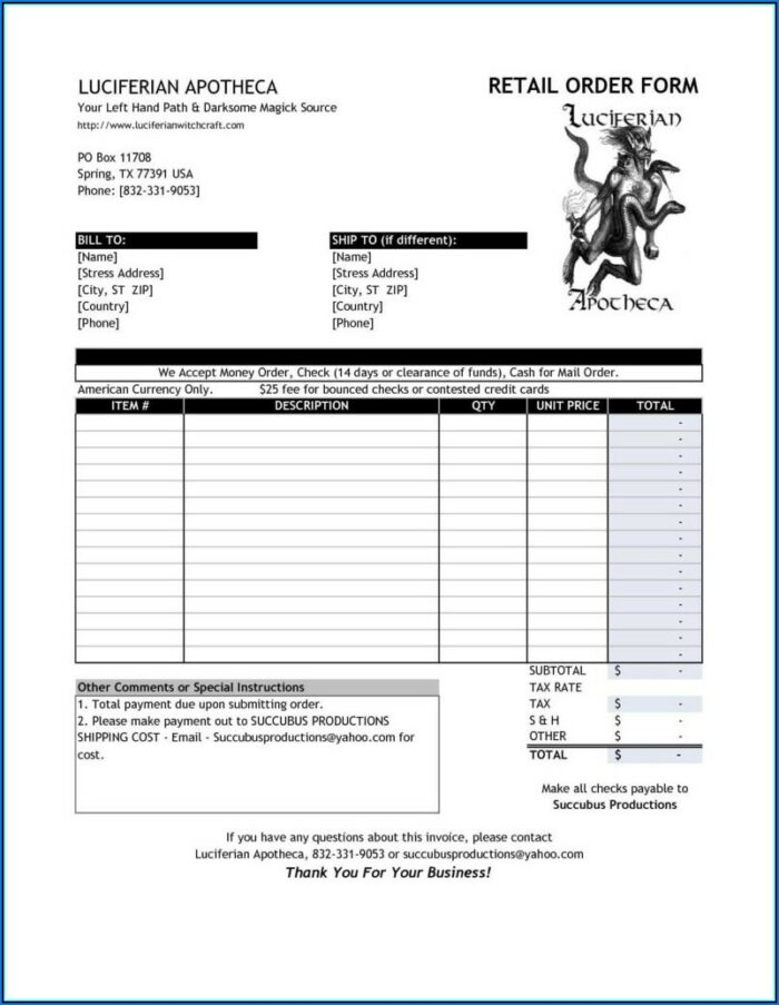 Wholesale Invoice Example