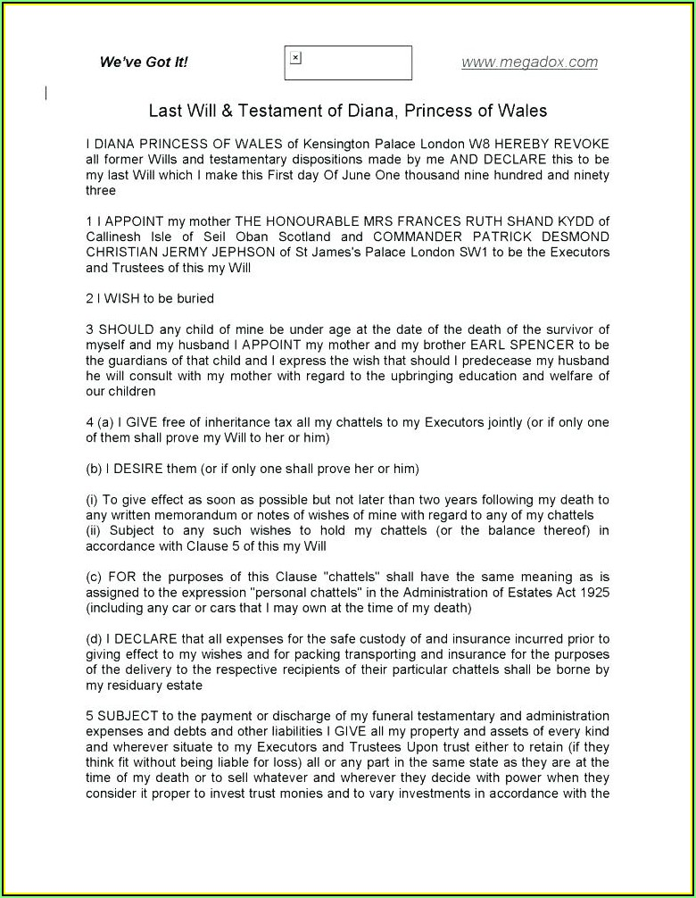 Wills And Testaments Templates
