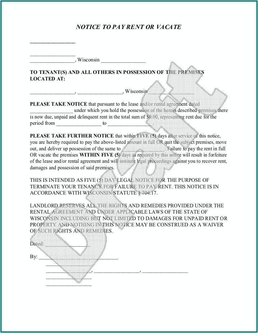 Wisconsin Rental Eviction Notice Forms