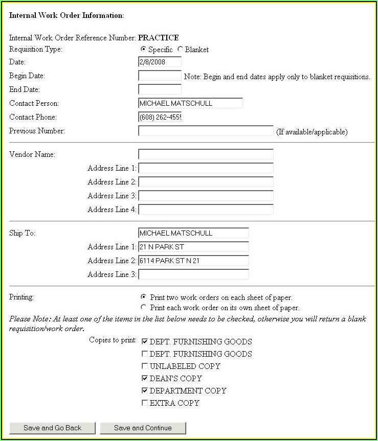 Work Order Request Template Excel