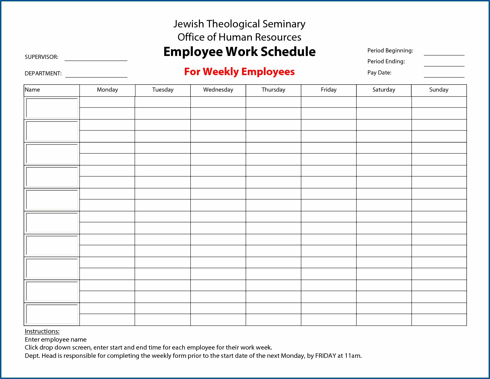 Work Schedule Templates Monthly