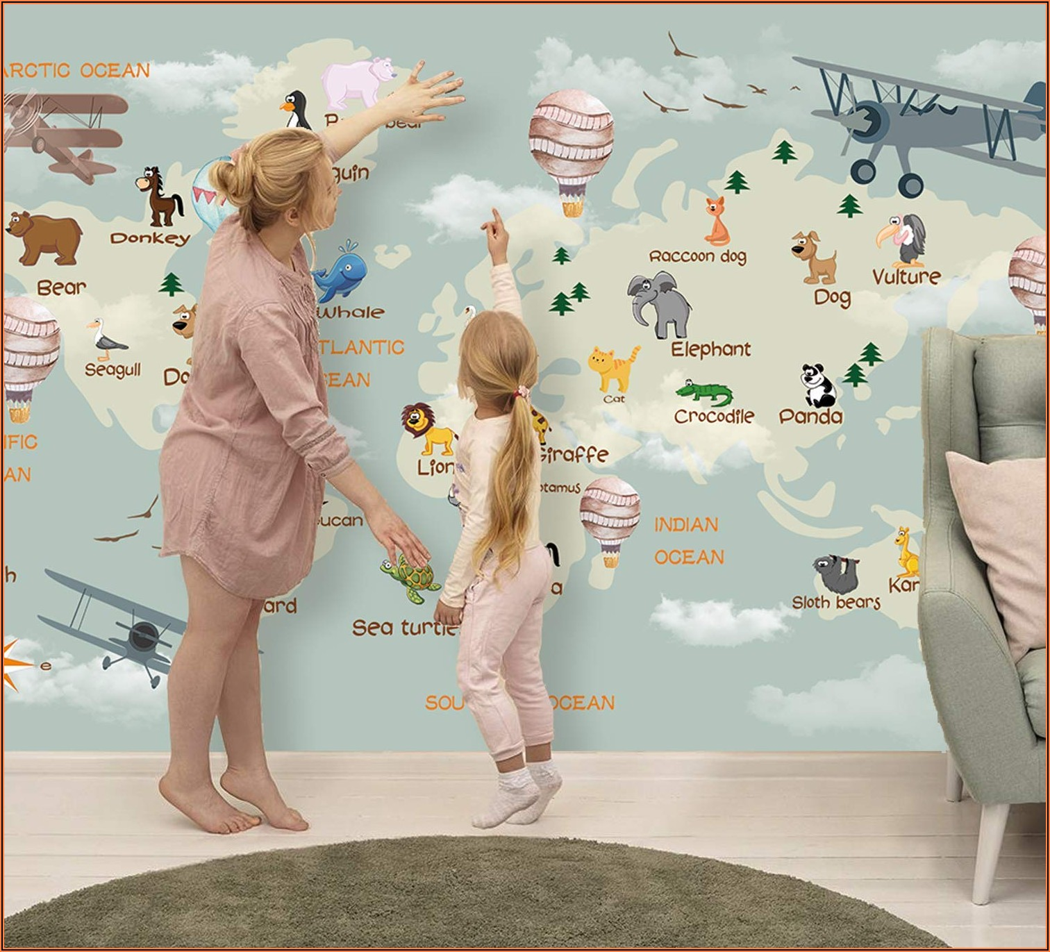 World Map Wall Mural For Nursery
