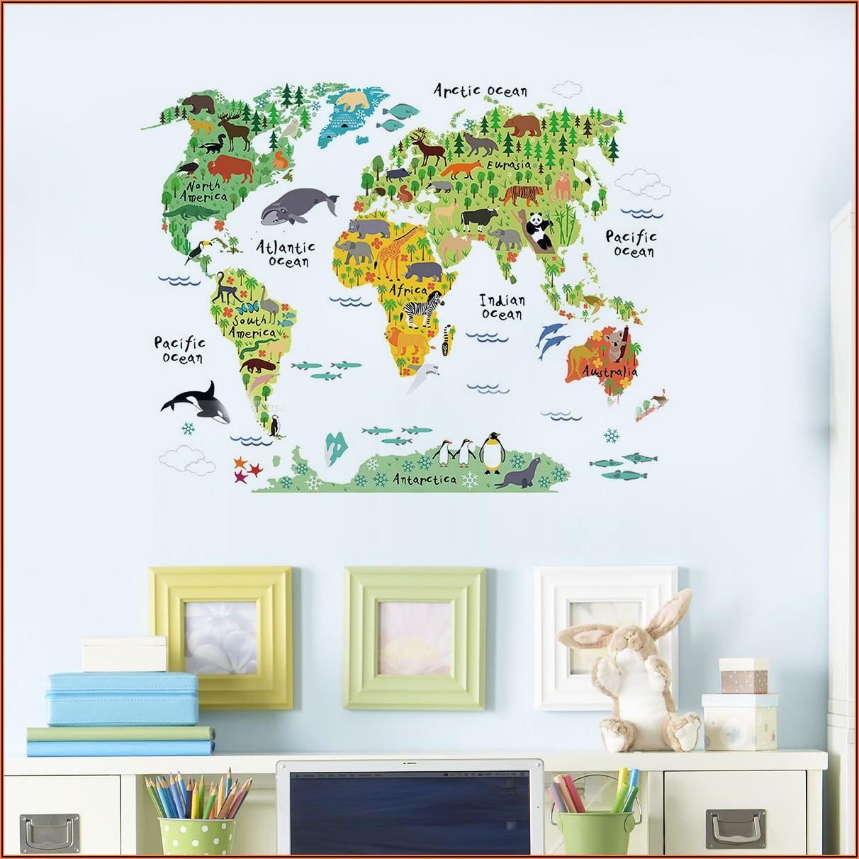 World Map Wall Sticker Nursery
