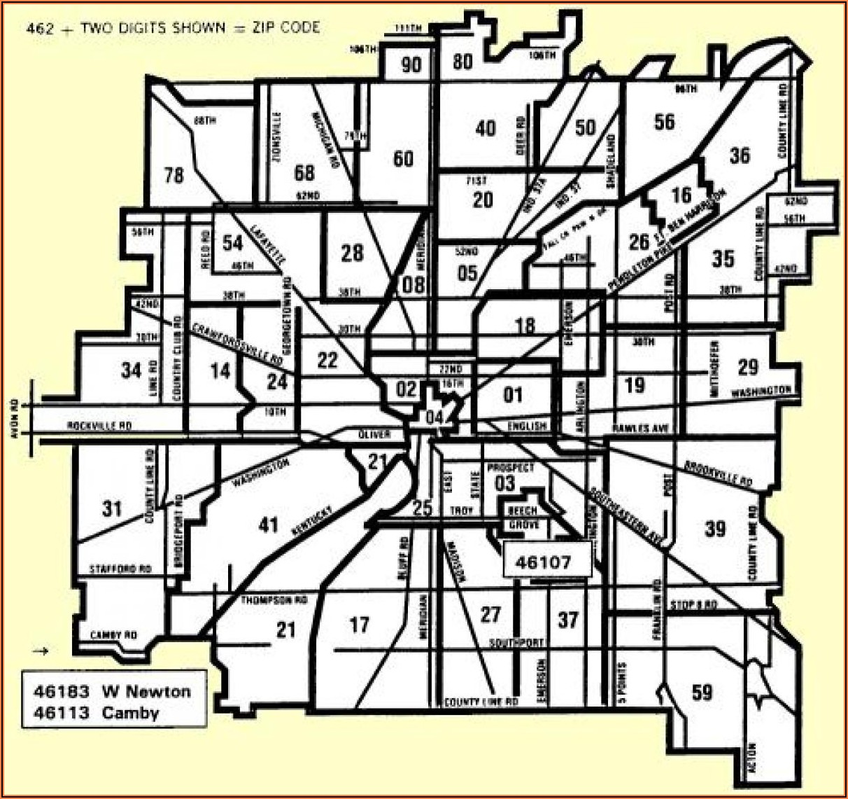 Zip Code Map Indianapolis Indiana
