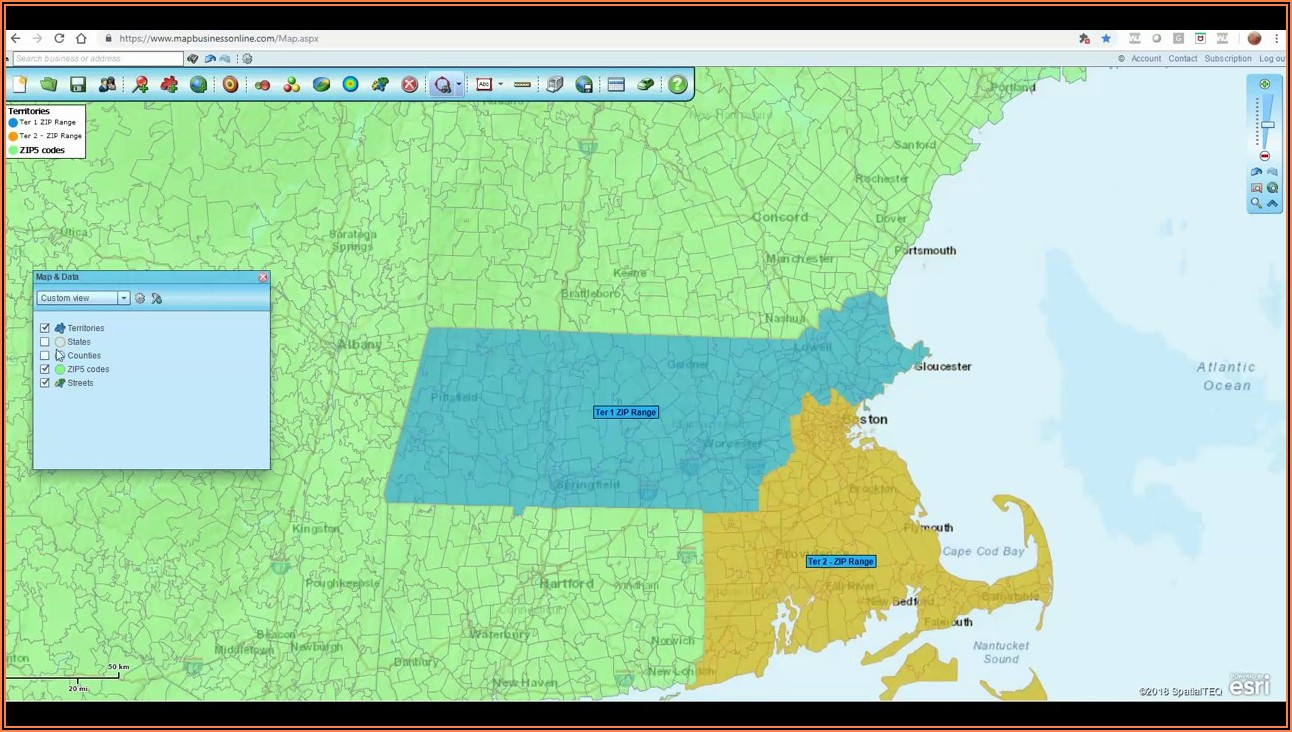 Zip Code Territory Mapping Software
