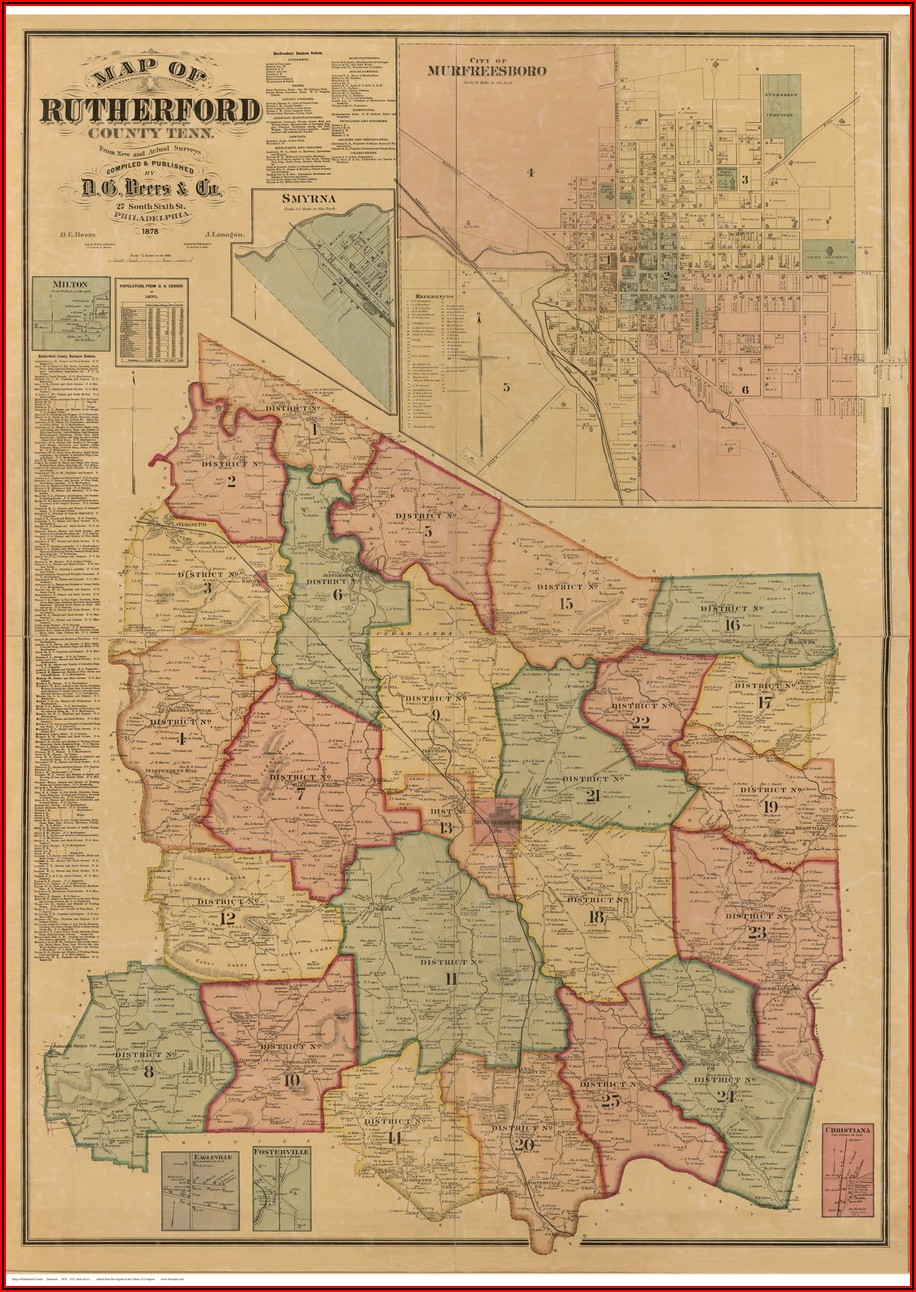 1878 Map Of Maury County Tn