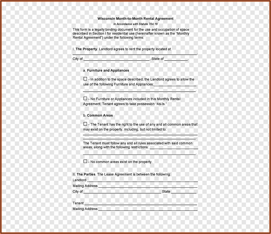 Apartment Rental Lease Agreement Template