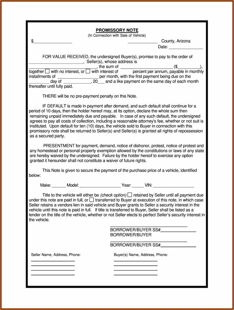 Arizona Promissory Note Form