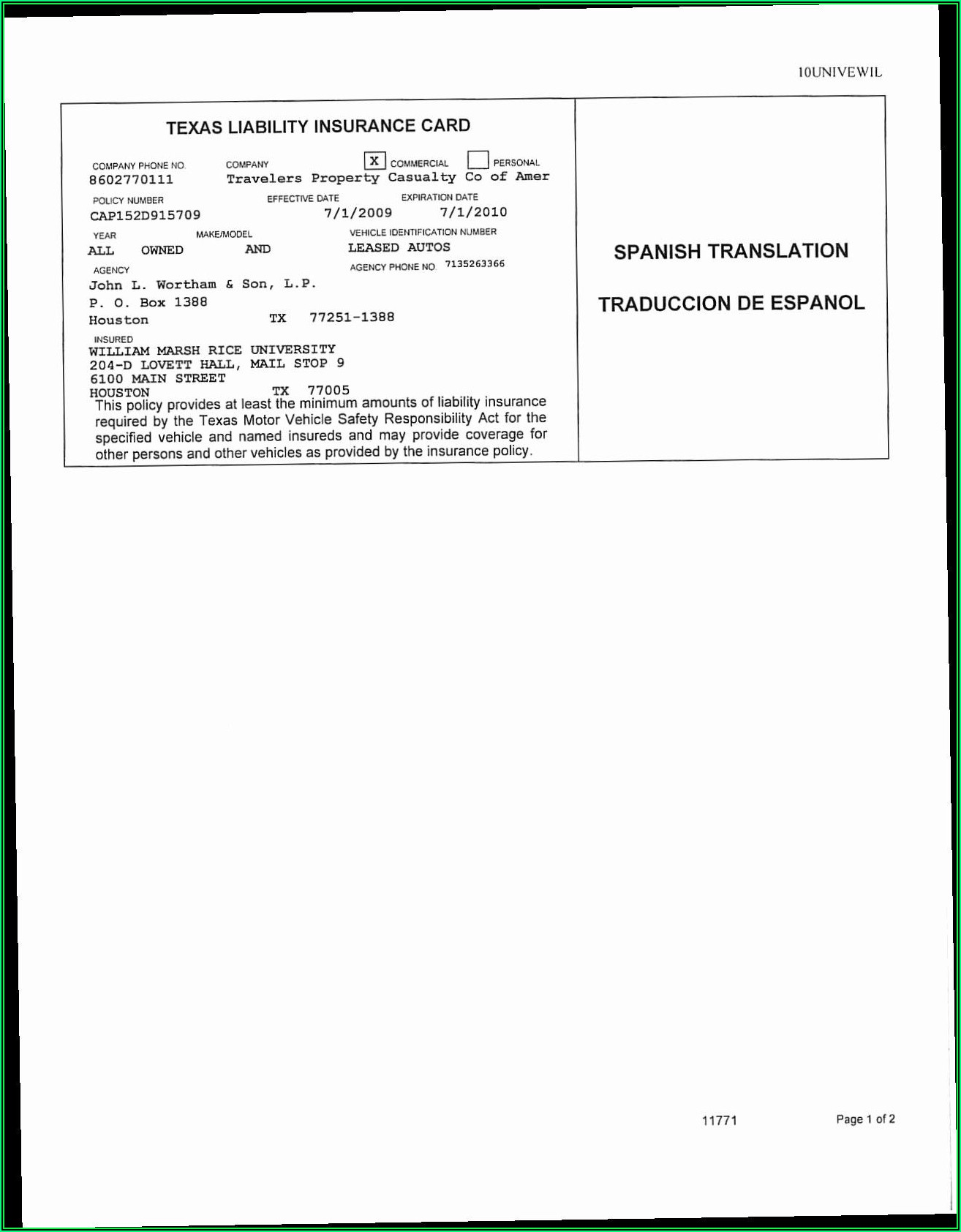 Auto Insurance Id Card Template Pdf
