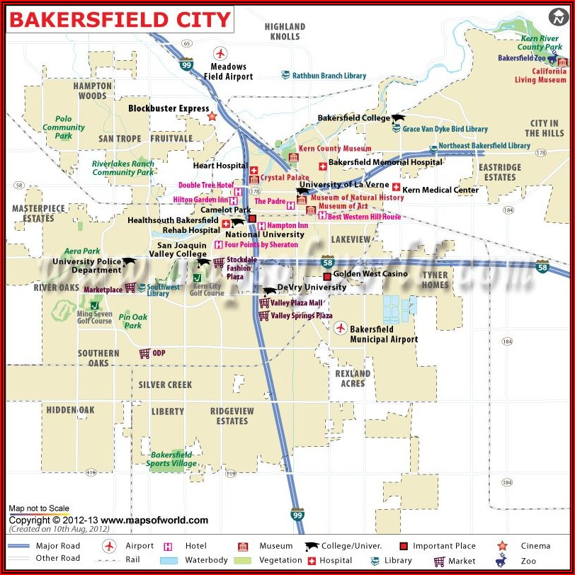 Bakersfield Ca Hotels Map