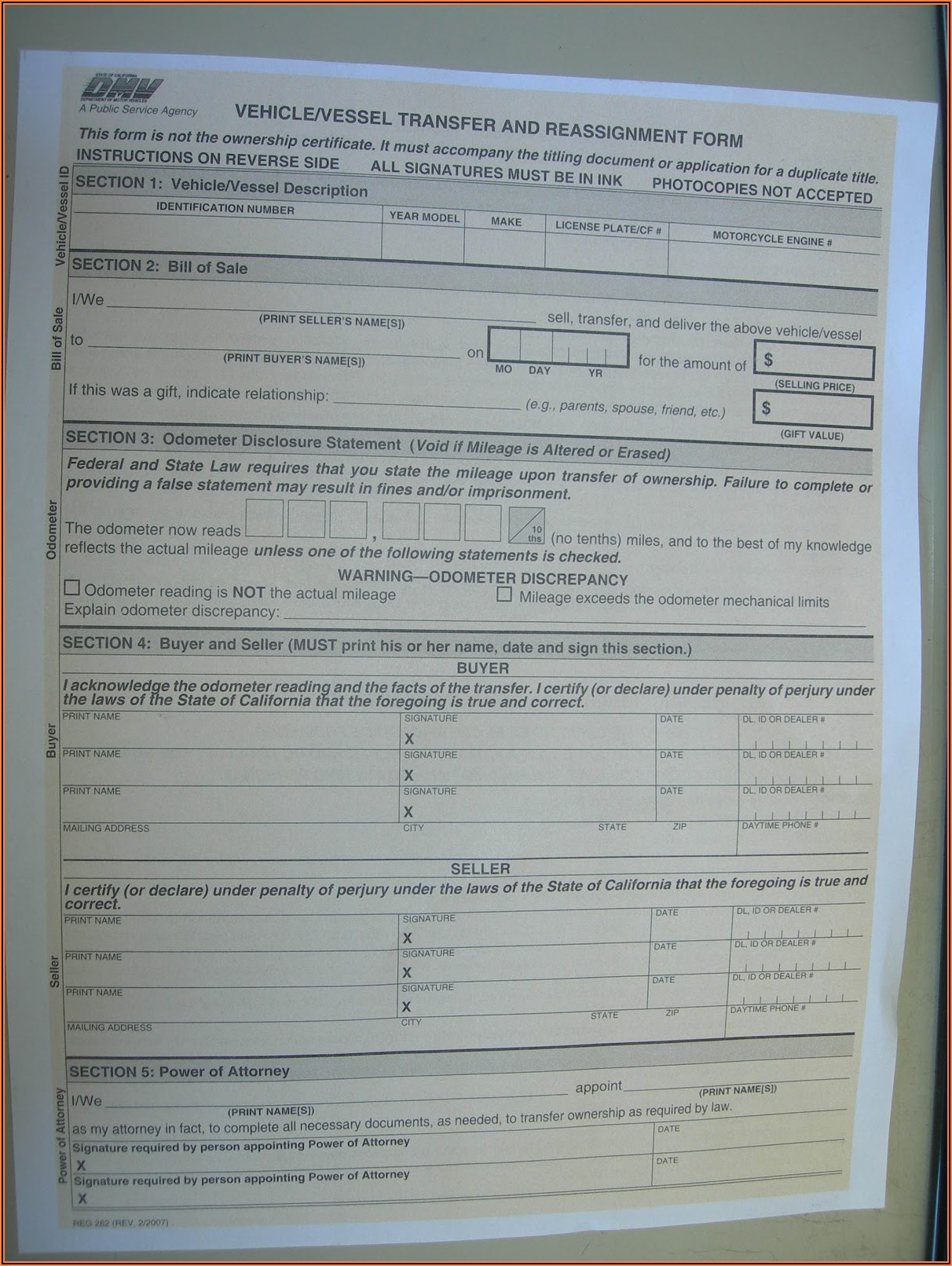 California Dmv Registration Form 262