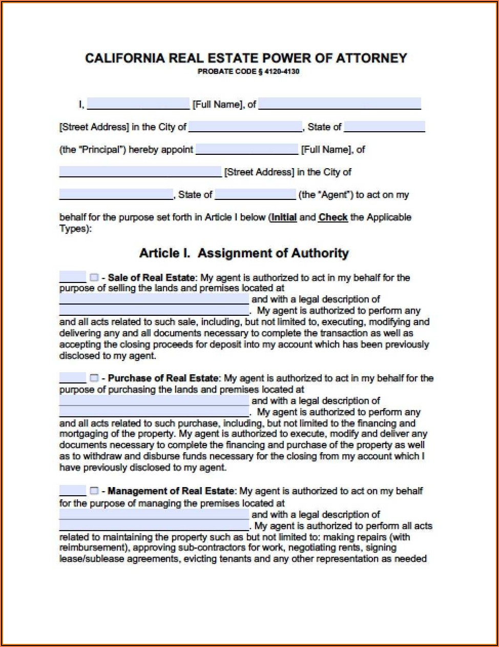 California General Power Of Attorney Form Free Download