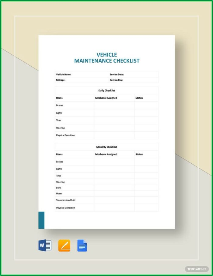 Car Service Checklist Template